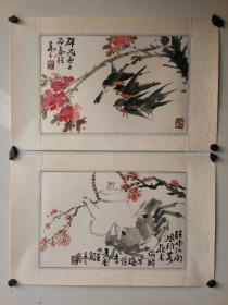 海派老画家 吴茀之    花鸟册页两个 原装旧裱 保存好 有黄斑  每个尺寸35x23