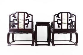 紫檀木嵌云石太师椅 一对带几