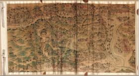 【复印件】清乾隆时期彩绘纸本:热河行宫全图,纵:564.37厘米,横:1031.66厘米,本店此处销售的为仿真手卷