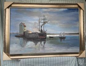 纯手绘海景油画
