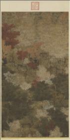 【复印件】 五代十国仿真图轴:秋林群鹿图轴,纵:63.01厘米,横:31.82厘米