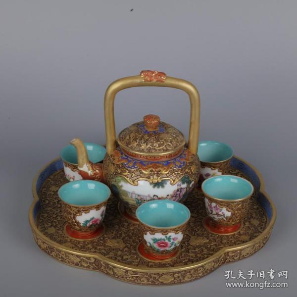鎏金深雕人物龙头茶壶茶杯套