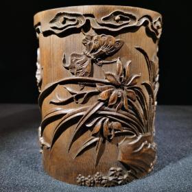 雅室兰香 兰花笔筒