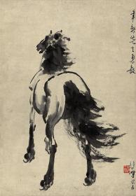 近现代徐悲鸿墨笔马轴纸本 复制品