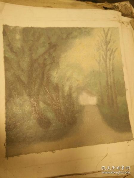朦胧的树林《美院艺术》油画40+60纯手绘的