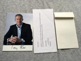 首相签!英国前首相布莱尔签,签名照片一张,附回寄封(托尼·布莱尔执政10年,是工党历史上在任最长的英国首相,也是该党唯一一位带领工党连续三次赢得大选的首相)