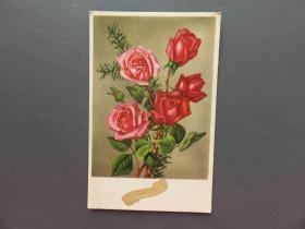 {会山书院}98#1920年欧洲法国(玫瑰花)手写明信片、junk journal手账素材