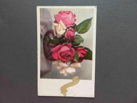 {会山书院}100#1920年欧洲法国(玫瑰花)手写明信片、junk journal手账素材