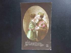 {会山书院}71#欧洲法国1910年(浪漫情侣)手写明信片、junk journal手账素材
