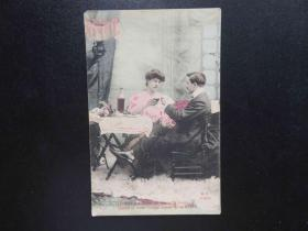 {会山书院}85#欧洲法国1910年(浪漫情侣)手写明信片、junk journal手账素材