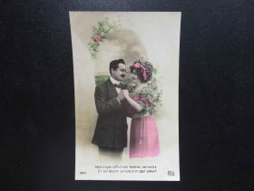 {会山书院}86#欧洲法国1910年(浪漫情侣)手写明信片、junk journal手账素材