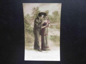 {会山书院}96#欧洲法国1910年(浪漫情侣)手写明信片、junk journal手账素材