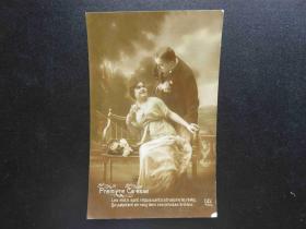 {会山书院}99#欧洲法国1910年(浪漫情侣)手写明信片、junk journal手账素材