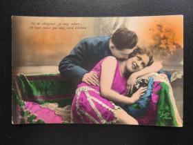 {会山书院}104#欧洲法国1910年(浪漫情侣)手写明信片、junk journal手账素材