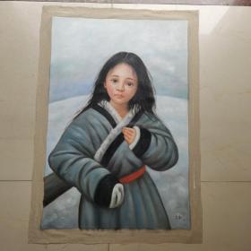 油画藏族女孩作品