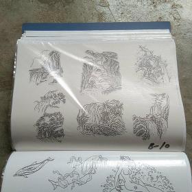 山水花草动物人物卡通白描画(复印件)140张左右