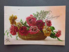 {会山书院}94#1920年欧洲法国(玫瑰花)手写明信片、junk journal手账素材