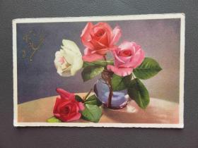 {会山书院}97#1920年欧洲法国(玫瑰花)手写明信片、junk journal手账素材