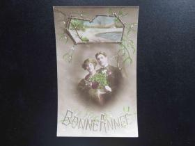 {会山书院}72#欧洲法国1910年(浪漫情侣)手写明信片、junk journal手账素材