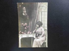 {会山书院}78#欧洲法国1910年(浪漫情侣)手写明信片、junk journal手账素材