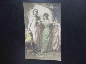 {会山书院}83#欧洲法国1910年(浪漫情侣)手写明信片、junk journal手账素材