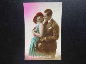 {会山书院}113#欧洲法国1910年(浪漫情侣)手写明信片、junk journal手账素材