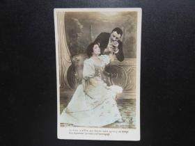 {会山书院}115#欧洲法国1910年(浪漫情侣)手写明信片、junk journal手账素材