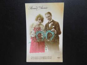 {会山书院}118#欧洲法国1910年(浪漫情侣)手写明信片、junk journal手账素材