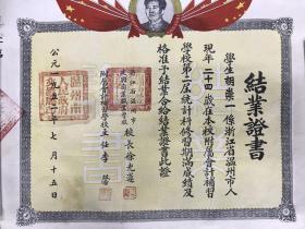 1952年温州市建国商业职业学校结业证书 毛笔书写