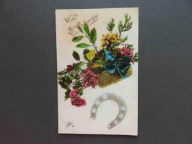 {会山书院}93#1920年欧洲法国(康乃馨花)手写明信片、junk journal手账素材
