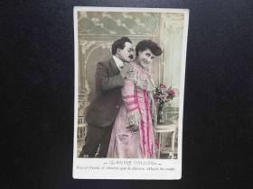 {会山书院}116#欧洲法国1910年(浪漫情侣)手写明信片、junk journal手账素材