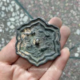 w古玩古董杂项收藏老铜器黄铜绿锈青铜小铜镜老物件