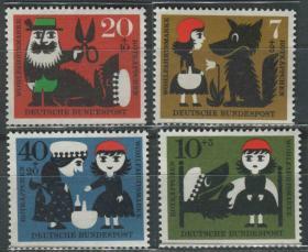 德国邮票 西德 1960年 社会福利基金 格林童话 小红帽 4全新
