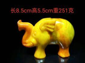 清代黄玉小象摆件,纯手工精雕细琢,玉质细腻,保存完整