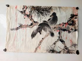 约七八十年代 或者更早 无款花鸟画  尺寸50x34
