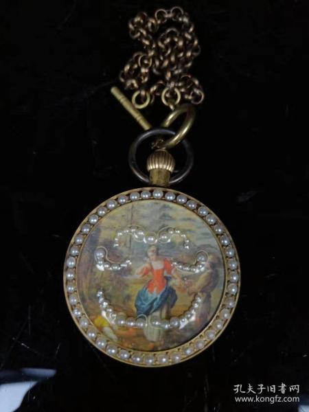 旧藏,镶嵌珍珠回流铜怀表一块
