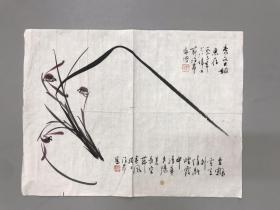 著名画家许昂兰花一幅 46x35cm