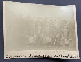 清末时期 清政府与法国交涉谈判官员代表合影 蛋白老照片一张(有法文题记,官员身份请自鉴)