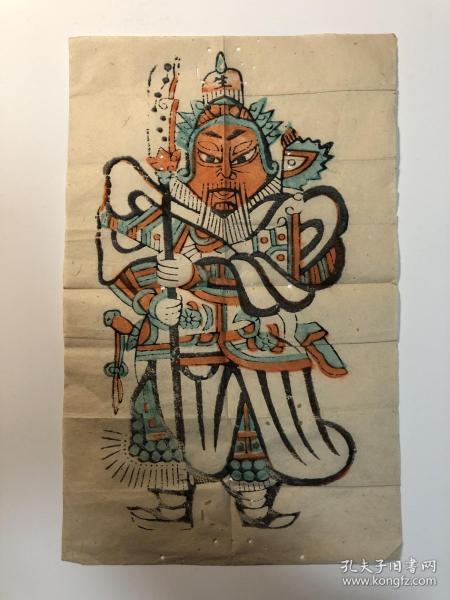 木版年画、佛山木版年画门神一张。