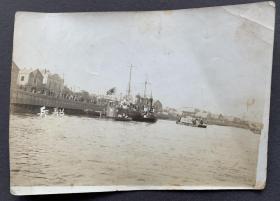 【天津旧影】民国时期 天津海河沿岸的日本兵船 原版照片一张