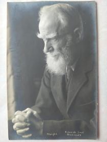 诺贝尔文学奖得主 语言大师 萧伯纳 George Bernard Shaw 亲笔签名照