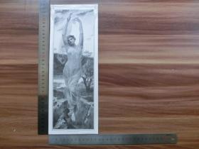 【现货 包邮】1890年小幅木刻版画《火炬女神》(morgenrot)尺寸如图所示(货号400967)