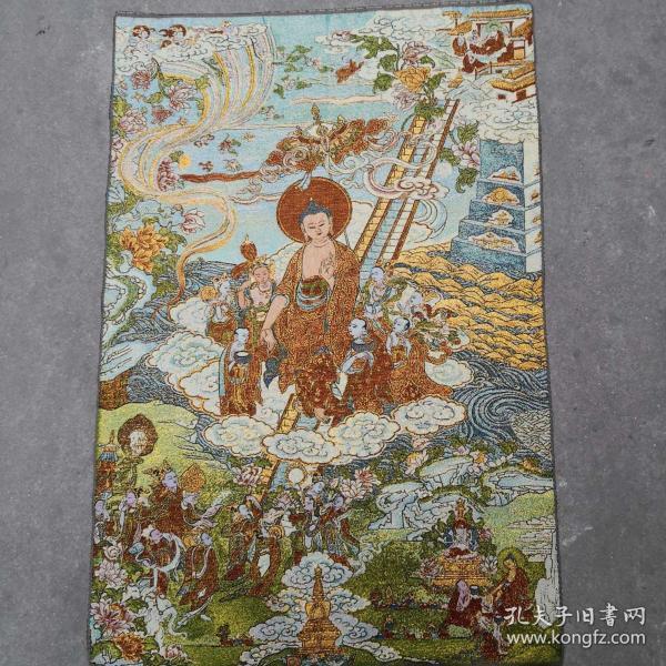 文革时期金丝刺绣唐卡织锦画像