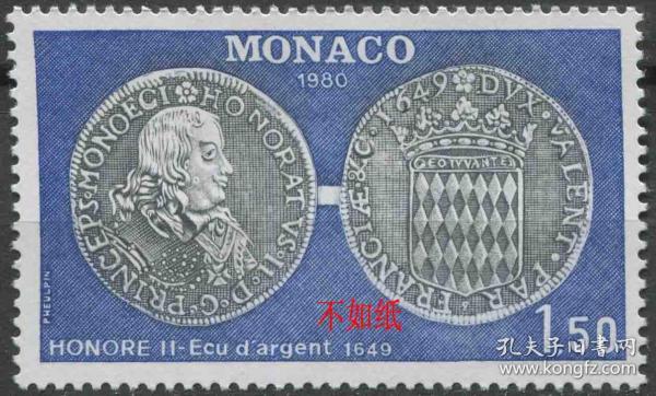 摩纳哥邮票 1980年 古代钱币 银币 奥诺雷二世 雕刻版 1全新贴