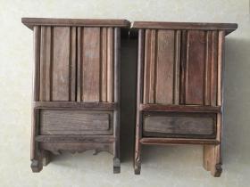 民国木雕人物小柜子一对  精美  小巧