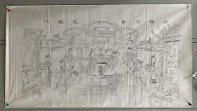 老杨柳青木版年画 墨线稿一张 【刘备招赘 龙凤配】 尺寸:116*64CM 品相年代请自鉴  二手物品售出不退