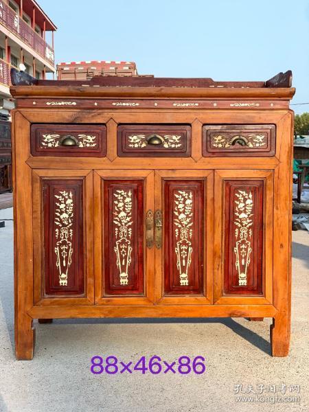 清末民初,老楠木镶骨茶桌,镶嵌牛骨,花梨木面板,品相完好,包浆醇厚,品相及尺寸如图