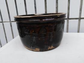 明代黑瓷笔洗,玉璧底罐