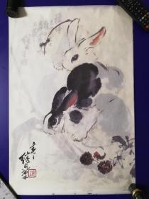 刘继卣国画《墨卯》宣纸挂历(2011年,6幅生肖兔)多图实拍,包老保真