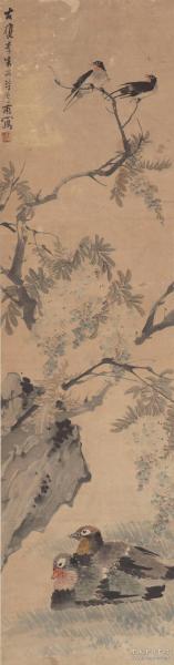 朱偁朱梦庐-花鸟四条屏,共4屏,每屏大小36.5*138.5厘米。宣纸原色微喷印制,按需印制不支持退货